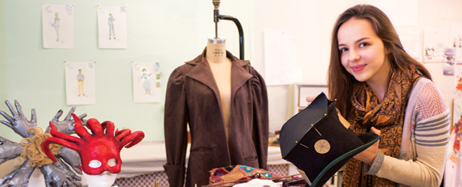 Hannah Collman in fashion classroom