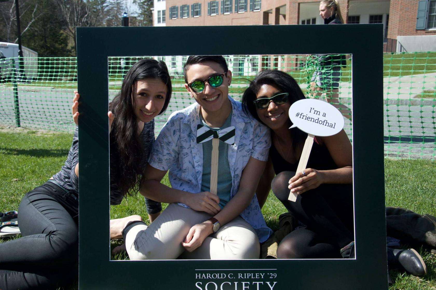 Students in Harold C. Ripley '29 Society photobooth